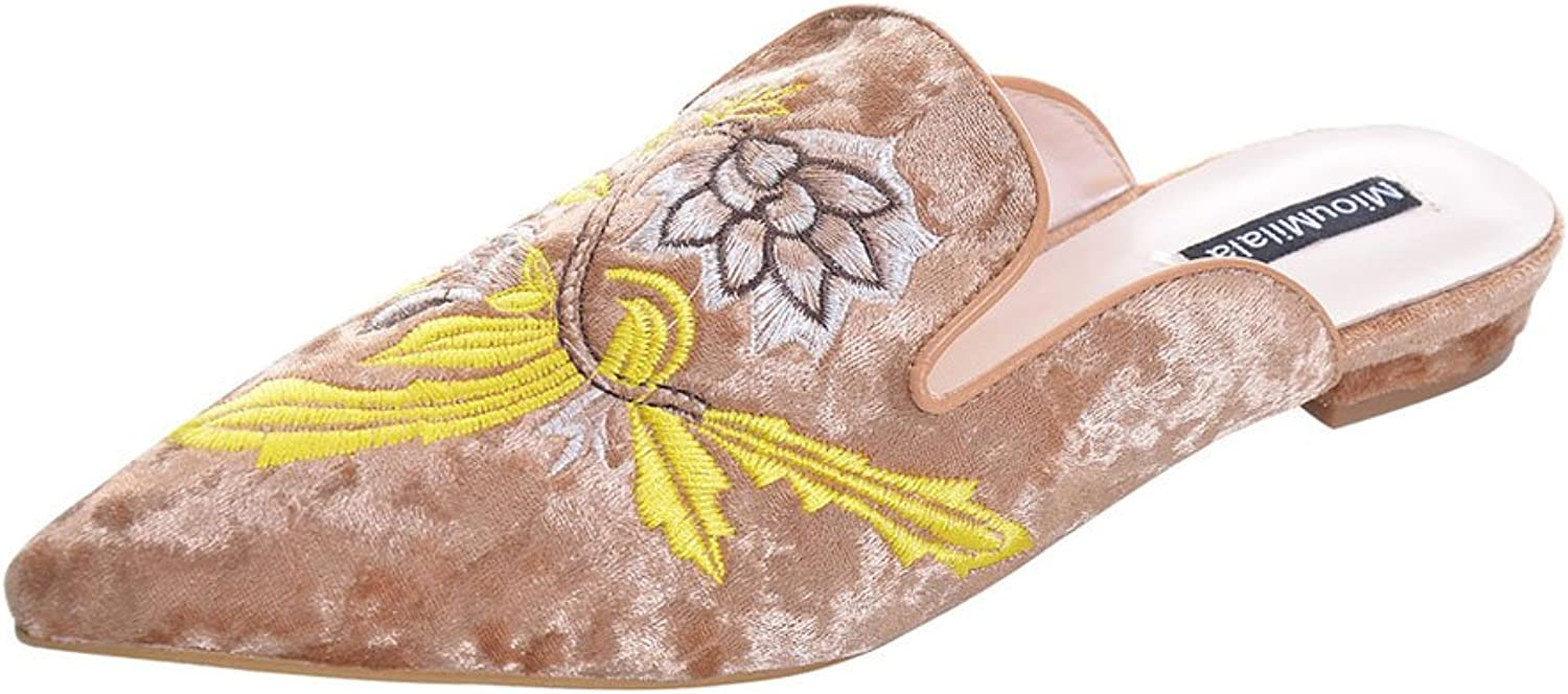 Slduv7 Velvet Women Mules Fashion Embroidery Slides shoes Lady's Backless Flat Slippers