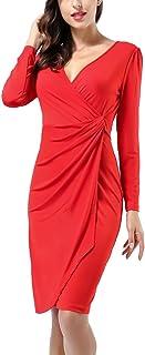 AVTOSRNO Women's Classic Long Sleeve V Neck Draped Waist Tie Belt Tulip Wrap Dress