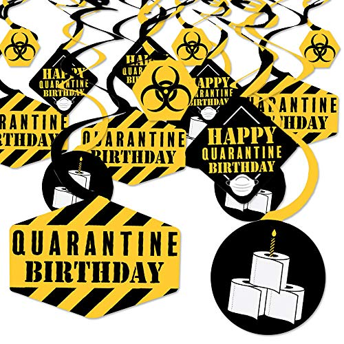 Big Dot of Happiness Happy Quarantine Birthday - Social Distancing Party Hanging Decor - Party Decoration Swirls - Set of 40