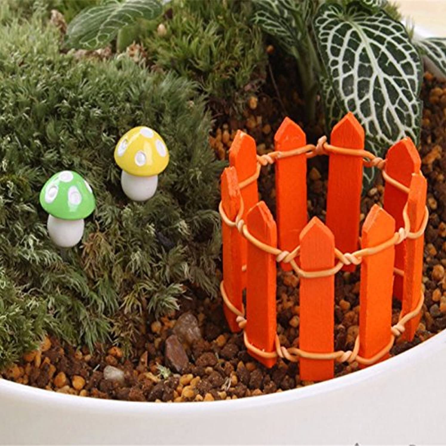 余分な言語市長Jicorzo - 20個DIY木製の小さなフェンスモステラリウム植木鉢工芸ミニおもちゃフェアリーガーデンミニチュア[オレンジ]