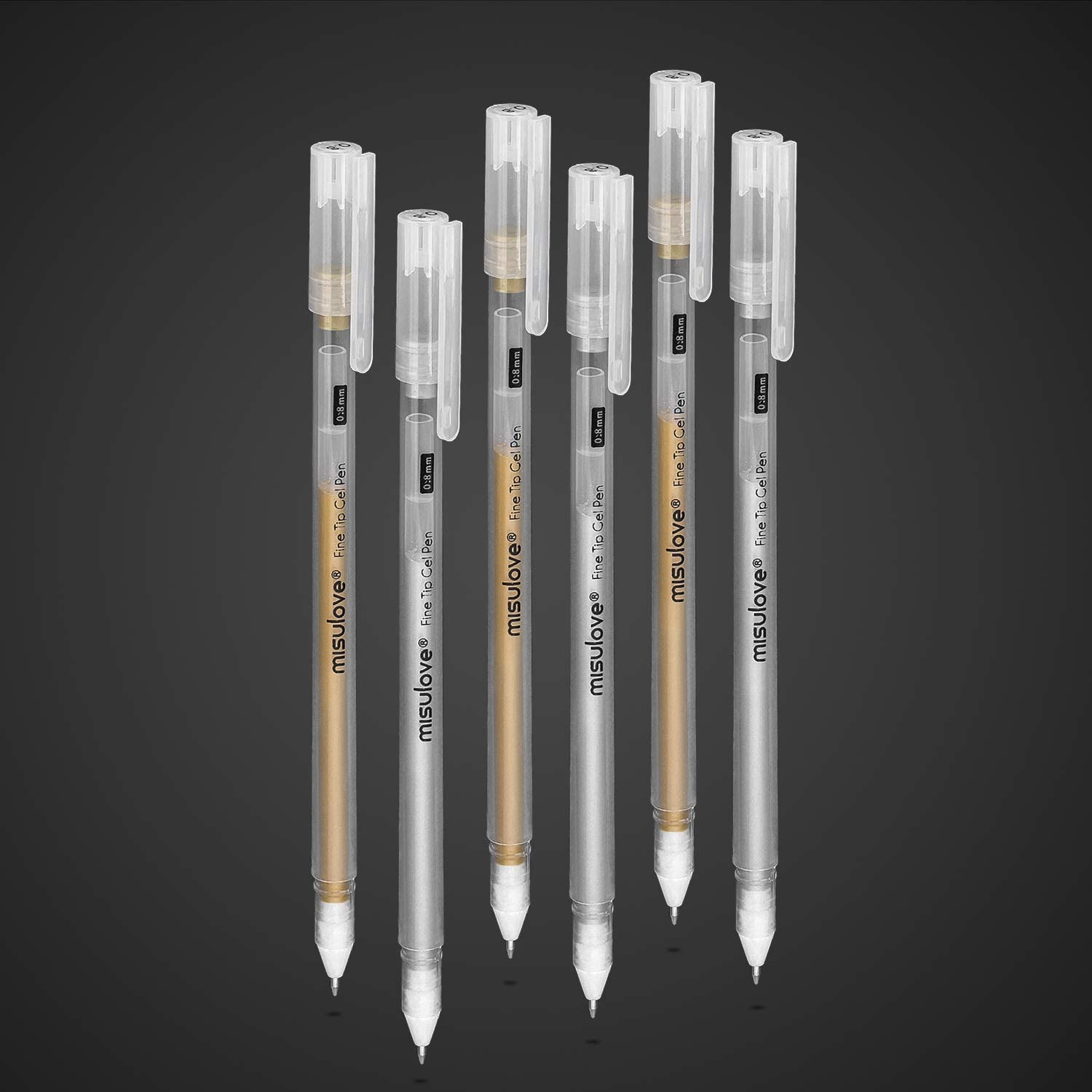 MISULOVE White Gel Pens Sketching White Art Pen for Artists Drawing Illustration Deisgn Fine Point 0.8mm 3 Pack Opaque White Archival Ink Pens Black Paper