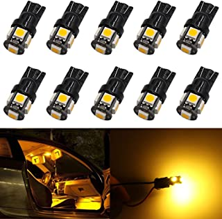 10-Pack Newest, 6th Generation 194 T10 168 2825 158 Super Bright Amber/Yellow LED Light, AMAZENAR 5 SMD Car Interior Replacement Bulb For Map Dome Courtesy Trunk License Plate Side Marker Light