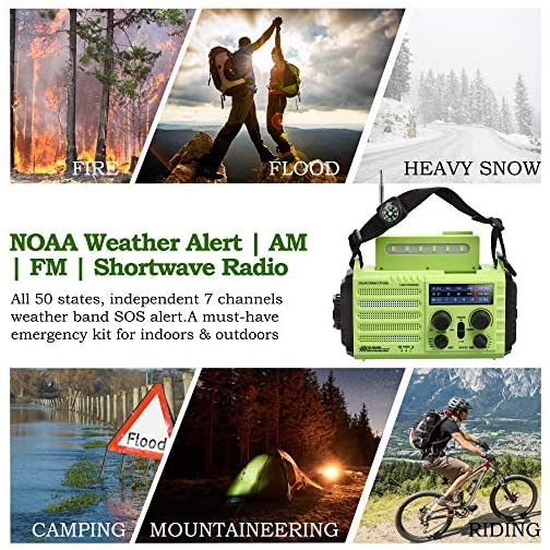 Portable Emergency Solar Hand Crank Radio, 5-way Powered AM/FM/SW/NOAA Weather Alert Radio, Power Bank for Phone Charger… 5