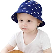 Baby Girls Boys Sun Protective Hats&Caps Cute Toddler Summer Caps Kids Cotton Bucket Hat with Strap(1-3years) Blue