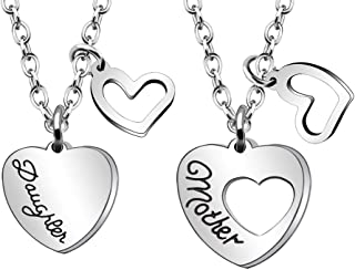 JJIA Mother Daughter Gifts, 2 Pcs Heart Necklaces for Mom Daughter Women Necklace Birthday Gifts