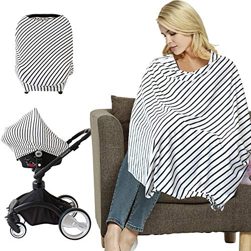 Baby Car Seat Covers, Nursing Cover, Breastfeeding Poncho - Baby Car Seat Protector, Shopping Cart Cover, Stroller Cover, Full Privacy Breastfeeding Protection - Baby Shower Gifts for Boy&Girl
