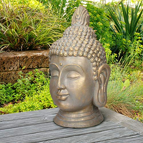 ECD Germany Buddha Kopf Statue 74,5 cm - aus Polyresin - Bronzeoptik - für Yoga, Feng Shui oder Meditationsraum - Haus, Wohnung & Garten - Innen/Außen - Dekoration Deko Skulptur Figur Gartenfigur