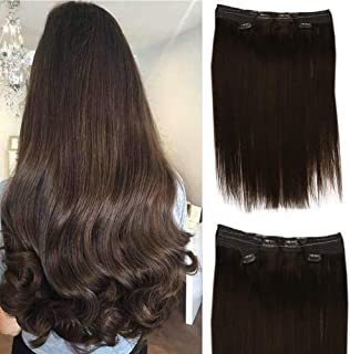 Full Shine 3 Wefts Per Set 2 Of Remy Human Hair Extensions Clip Ins And 1 Halo Fish Wire Extensions Color #4 12