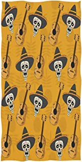 REFFW Decorative Bath Towels Hand for Home Bathroom Hotel Gym Spa Lighthouse Day of The Dead Sugar Skull Hat Guitar Multipurpose Guest Soft Large Highly Absorbent