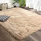 Amangel Beige Ultra Soft Fluffy Rugs for Bedroom Living Room, 4' x 5.3', Furry Throw Area Rugs for Kids Girls Boys Room, Plush Shag Rug for Nursery Dorm, Non-Slip Shaggy Modern Decorative Carpet