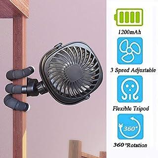 Zhyaj Mini Ventilador para Cochecito/Ventilador Portátil con Trípode Flexible/Ventilador De Escritorio Recargable USB para Coche/Regulador/Motocicleta/Campamento/Bq/Gimnasio,Negro