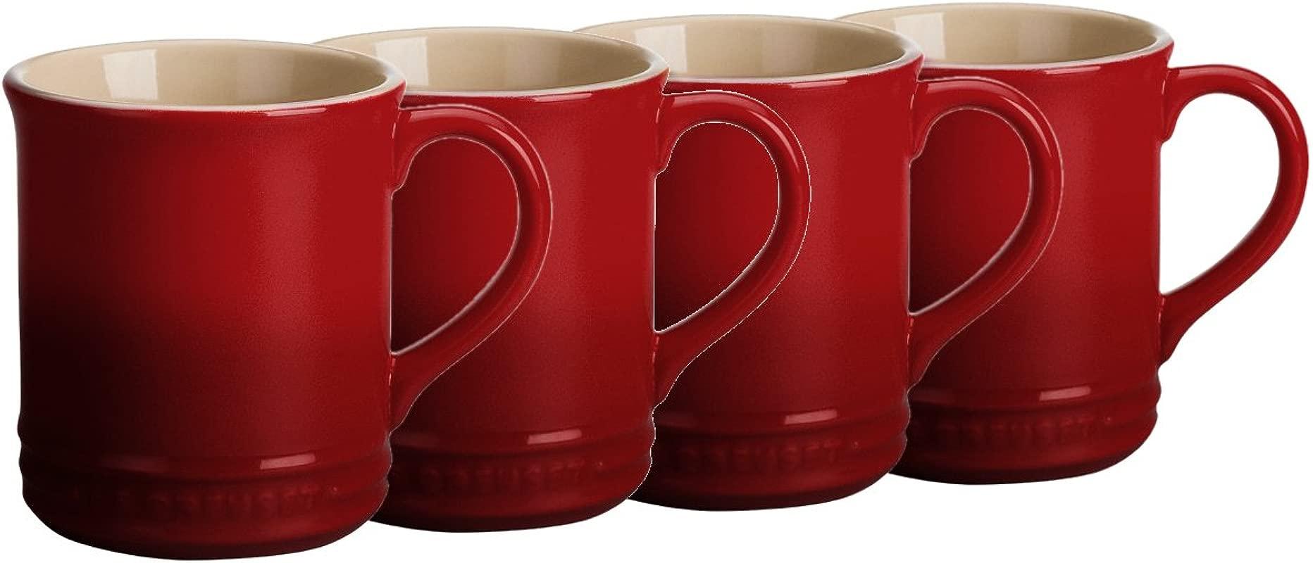 Le Creuset Cerise Cherry Stoneware 12 Ounce Coffee Mug Set Of 4