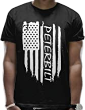 American Flag Peterbilt Mens Crew Neck T-Shirt Round Collar Short Sleeve Combed Cotton Shirt