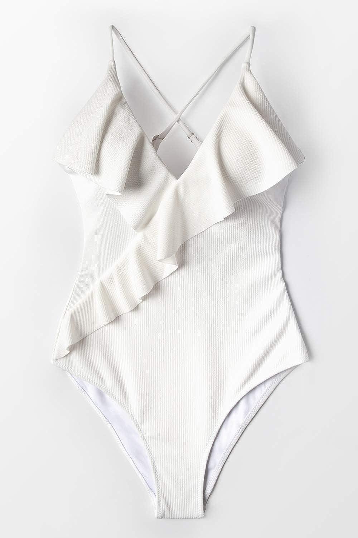 CUPSHE Damen Badeanzug R/üschen V Ausschnitt Wickeloptik Einteilige Bademode Swimsuit