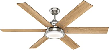 Hunter Fan Company Hunter 59462 Restoration 60`` Ceiling Fan with Light from Warrant collection in Pwt, Nckl, B/S, Silver. finish, See Image