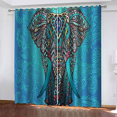 CHNXXL Printed Blackout Curtains For Children Eyelet Polyester Thermal Insulated Colored,Elephant 3D Patterned Curtains For Living Room Bedroom Nursery 183(W) X214(H)(Cm)