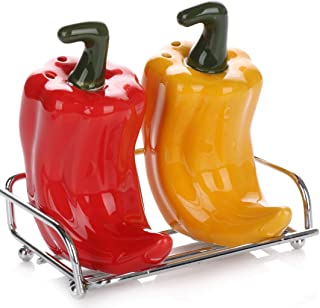 Cute Collectible Ceramic Salt and Pepper Shakers Set  Farmhouse Style Decorative Dispensers with Stainless Steel Chrome Metal Stand  Unique Vintage Shabby Chic Décor  Red & Yellow Bell Peppers