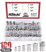 Hilitchi 180-PCS M3 M4 M5 M6 M8 M10 Flat Head Rivet Nut Threaded Rivetnut Insert Nutsert Assortment Kit- 304 Stainless Steel
