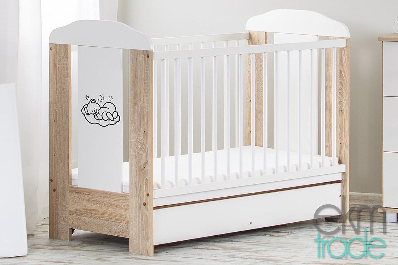 Beige - Wei 120 x 60 cm BABYBETT mit Schublade Gitterbett Kinderbett ekmTRADE