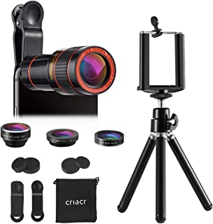 Criacr Phone Camera Lens 12X Zoom Telephoto Lens + Fisheye Lens + 15X Macro Lens & 0.63X Wide Angle (Attached Together) + ...