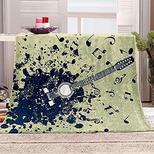 chitarra Coperta in pile 3D Nota Sherpa Coperta da tiro morbida e accogliente per bambini Ragazzi Adulti Coperte per letto e divano 70x100cm