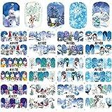 MEIYY Pegatina De Uñas 12 Diseños De Invierno Etiqueta Nail Art Navidad Mujeres Copos De Nieve Consejos Diy Decoraciones De Uñas Calcomanías De Agua