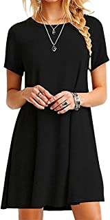 YMING Women's Casual T-Shirt Mini Short Sleeve Solid Color Simple Dress Plus Size