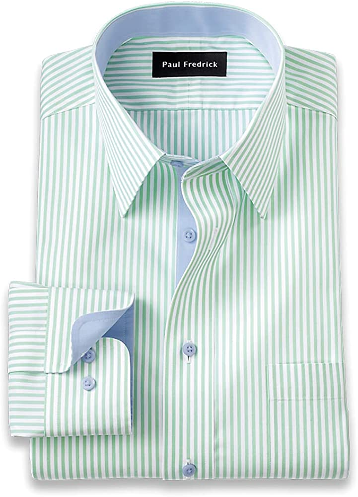 Paul Fredrick Men's Slim Fit Non-Iron Cotton Bengal Stripe Dress Shirt