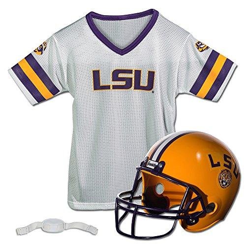 Franklin Sports LSU Tigers -Kids College Football Uniform Set - NCAA Youth Football Uniform Costume - Helmet, Jersey, Chinstrap Set - Youth M