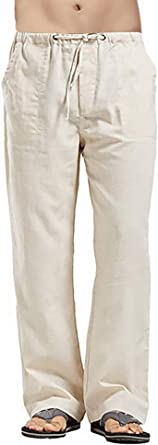 Men's Casual Linen Pants Elastic with Draw Cord Comfortable Lightweight Straight Leg Home Solid Color Trouser
