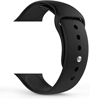 Soft Silicone Sport Band [2 Lengths] Large/Small Wrist Strap Replacement for Apple Watch 2015 & 2016 All Models 38mm - Black