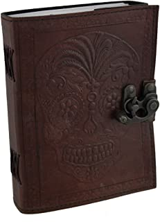 Leather Bound Day of The Dead Sugar Skull Journal with Metal Clasp