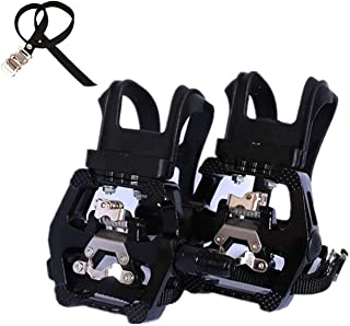 NAMUCUO SPD Pedals - Hybrid Pedal with Toe Clip and Straps, Suitable for Spin Bike, Indoor Exercise Bikes and All Indoor Bike with 9/16