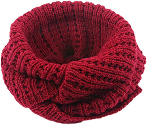 Fansport Thick Knitted Scarf Winter Warm Scarf Solid Color Infinity Scarf for Women Men