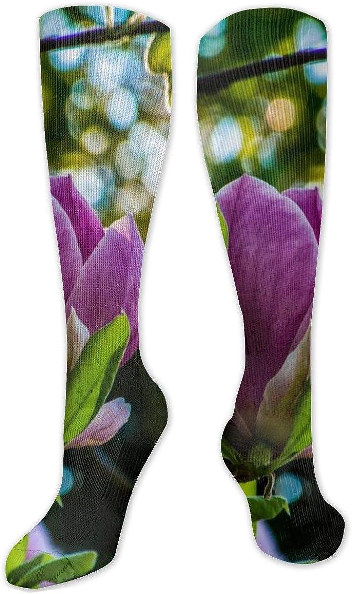 Purple Petaled Flower Branch Knee High Socks Leg Warmer Dresses Long Boot Stockings For Womens Cosplay Daily Wear