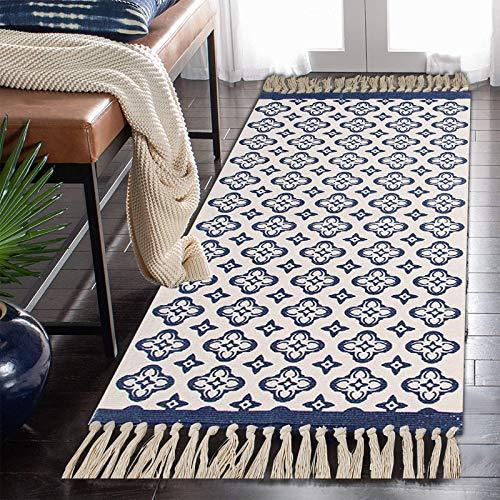 SHACOS Alfombra de Algodón Alfombra Tejida a Mano Alfombra Lavable a Máquina con Borla Alfombras Salon Vintage Azul para Dormitorio Cocina 60 x 90 cm