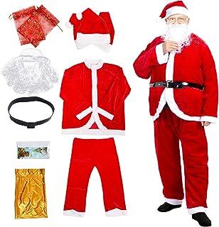 Santa Suit Men's Christmas Adult Santa Claus Costume Deluxe Set Xmas Outfit