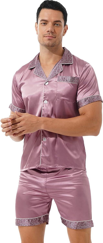 iiniim Men's Short Sleeve Satin Pajama Set with Shorts Printed Classic Button Down Pj Set Sleepwear