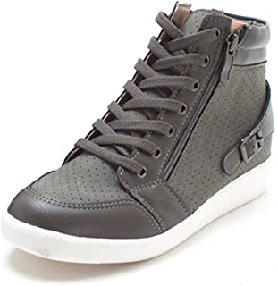 EpicStep Women's Casual High Tops Wedges Heel Shoes Zip Lace Up Fashion Sneakers