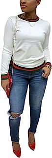Akmipoem Women's Ribbon Stripe Patchwork Long Sleeve Pullover Tops Sweatshirt