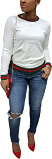 Akmipoem Women's Ribbon Stripe Patchwork Long Sleeve Pullover Tops Sweatshirt