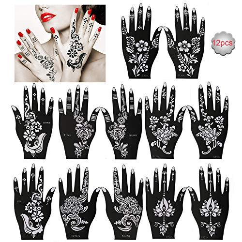 Konsait 12 Stück Henna Tattoo Schablonen - Glitter Tattoos Schablone henna Hände für Jugendliche Erwachsene Frau