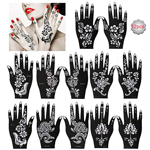 Konsait 12 hojas de plantilla de tatuaje, plantillas de tatuaje temporal a mano, negro Mandala Flor Tatuajes de Plantillas de Maquillaje para niños adultos mujer, Halloween, Fiestas