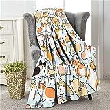 COLLA Corgi Blanket for Kids Adults, Cute Dog Pattern Throw Blankets, Soft Plush Fleece Flannel Blanket for Couch, Corgi Gift for Corgi Lovers Room Decor 50x40 Inch