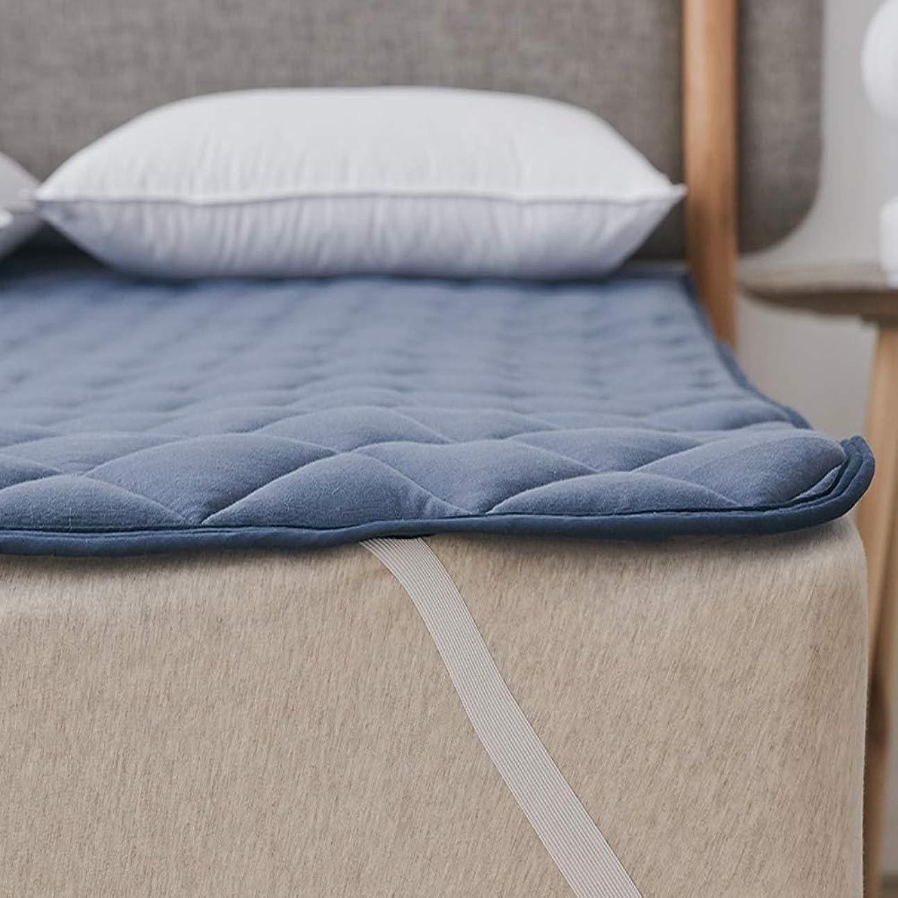小説家患者収まるクモリ(Kumori) 綿100% 敷きパッド 洗える ベッドパッド 抗菌?防臭?防ダニ加工 オールシーズンで使える ベッドシーツ ベッドマット 敷パッド マットレスパッド 丸洗いOK (キング?180X200cm, ネイビー)