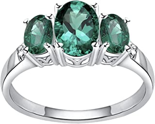 925 Sterling Silver Oval Shaped Simulated Emerald & Diamond Ring for Women and Girls, Three Stone Ring, May Birthstone, Perfect for Mother Day, Birthday, Free Gift Box (3.10 Cttw, 8x6 MM Oval)