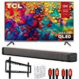 TCL 65R635 65-inch 6-Series 4K QLED Dolby Vision HDR Roku Smart TV Bundle with Deco Home Soundbar with Dual Subwoofers, Wall Mount, 2X Deco Gear HDMI Cable, 6-Outlet Surge Adapter with Night Light