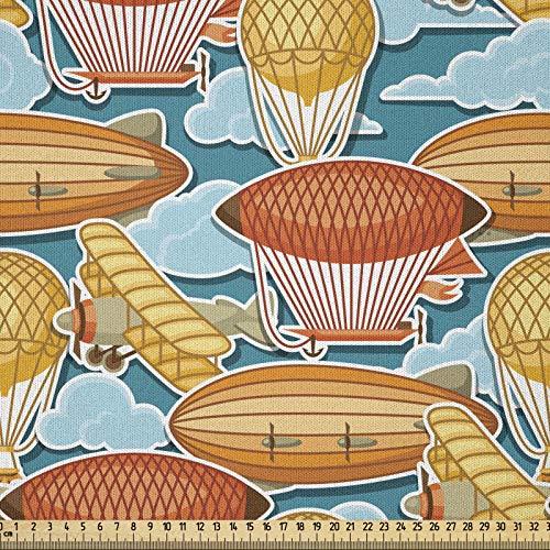 ABAKUHAUS Weinlese-Flugzeug Stoff als Meterware, Zeppelin Blimp, Microfaser Stoff für Dekoratives Basteln, 1M (230x100cm), Mehrfarbig