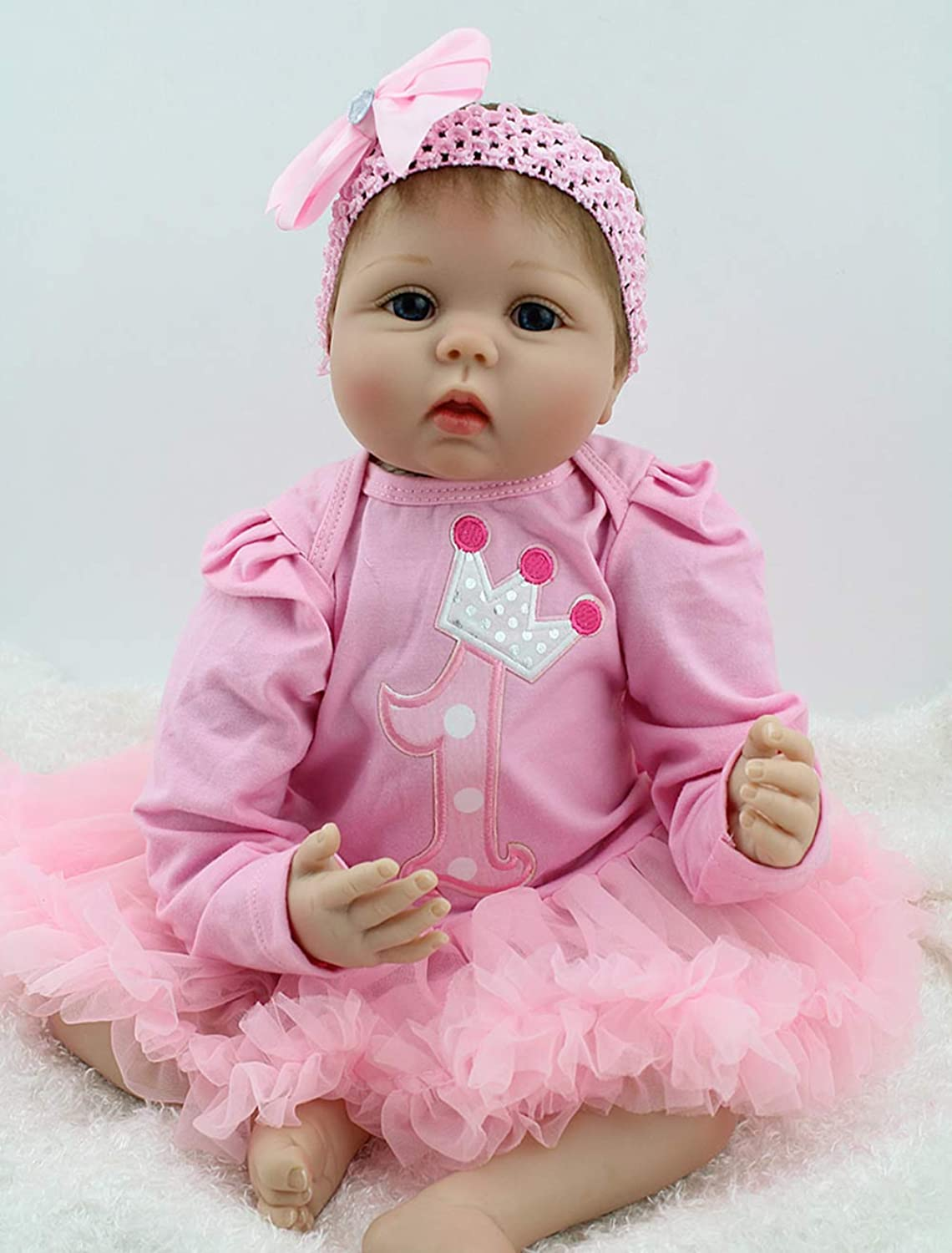 ZIYIUI Handmade Soft Silicone Vinyl Cotton Body 22inch 55cm Reborn Baby Doll Lifelike Eyes Open Newborn Girl in Pink Knit Outfit and Accessories