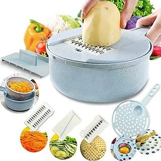 Povinmos Vegetable Slicer Madoline Slicer Food Chooper Vegetable Cutter Potato Peeler Carrot Onion Grater with Strainer Kitchen Colander